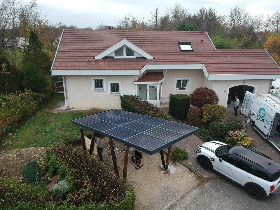 energies services france installation carport solaire photovoltaïque versonnex ain 3kw